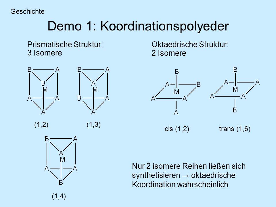 Demo 1: Koordinationspolyeder Prismatische Struktur: 3 Isomere (1,2)(1,3) (1,4) cis (1,2)trans (1,6) Nur 2 isomere Reihen ließen sich synthetisieren → oktaedrische Koordination wahrscheinlich Geschichte Oktaedrische Struktur: 2 Isomere