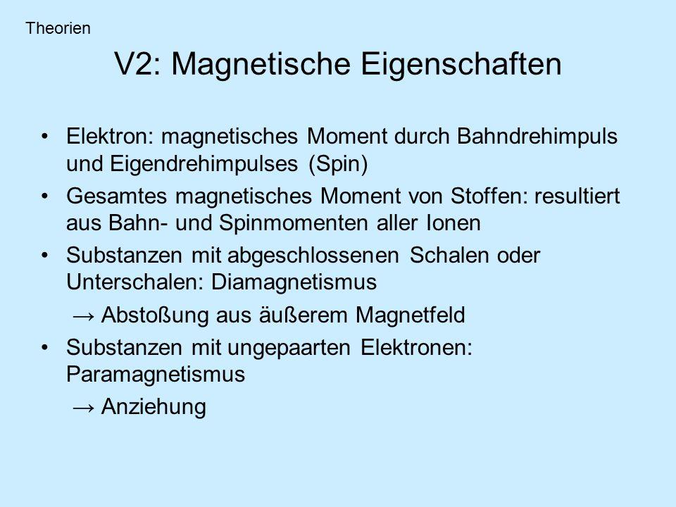 V2: Magnetische Eigenschaften Elektron: magnetisches Moment durch Bahndrehimpuls und Eigendrehimpulses (Spin) Gesamtes magnetisches Moment von Stoffen: resultiert aus Bahn- und Spinmomenten aller Ionen Substanzen mit abgeschlossenen Schalen oder Unterschalen: Diamagnetismus → Abstoßung aus äußerem Magnetfeld Substanzen mit ungepaarten Elektronen: Paramagnetismus → Anziehung Theorien