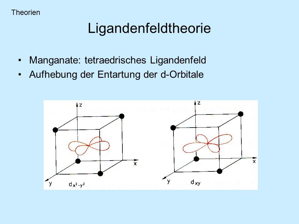 Manganate: tetraedrisches Ligandenfeld Aufhebung der Entartung der d-Orbitale Ligandenfeldtheorie Theorien