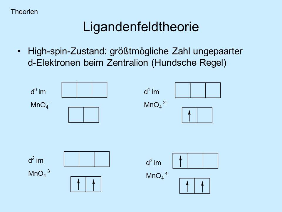 Ligandenfeldtheorie High-spin-Zustand: größtmögliche Zahl ungepaarter d-Elektronen beim Zentralion (Hundsche Regel) d 0 im MnO 4 - d 1 im MnO 4 2- d 2 im MnO 4 3- d 3 im MnO 4 4- Theorien