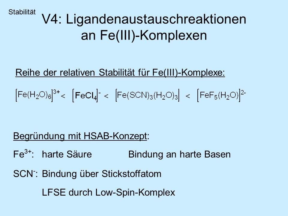 V4: Ligandenaustauschreaktionen an Fe(III)-Komplexen Reihe der relativen Stabilität für Fe(III)-Komplexe: Stabilität <<< Begründung mit HSAB-Konzept: Fe 3+ : harte SäureBindung an harte Basen SCN - : Bindung über Stickstoffatom LFSE durch Low-Spin-Komplex