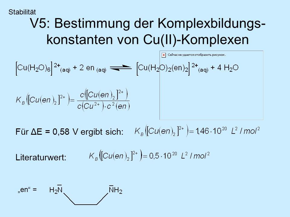 """V5: Bestimmung der Komplexbildungs- konstanten von Cu(II)-Komplexen Stabilität """"en"""" = Für ΔE = 0,58 V ergibt sich: Literaturwert:"""