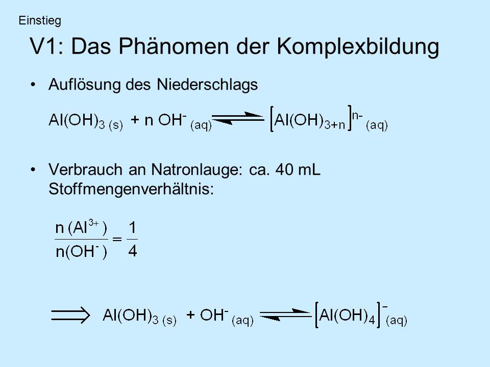 V1: Das Phänomen der Komplexbildung Auflösung des Niederschlags Verbrauch an Natronlauge: ca. 40 mL Stoffmengenverhältnis: Einstieg