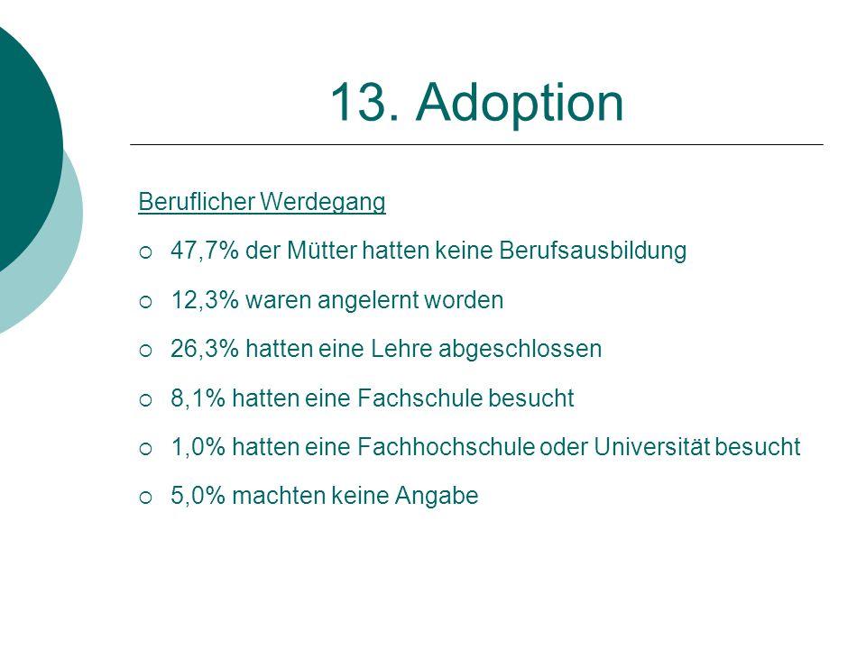 13. Adoption Beruflicher Werdegang  47,7% der Mütter hatten keine Berufsausbildung  12,3% waren angelernt worden  26,3% hatten eine Lehre abgeschlo