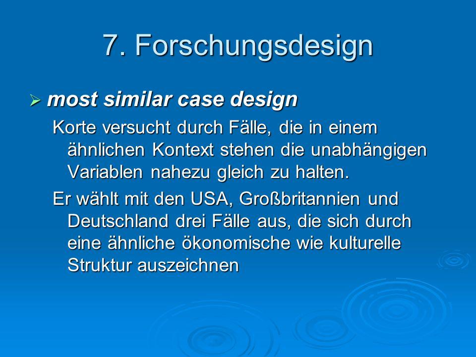 7. Forschungsdesign  most similar case design Korte versucht durch Fälle, die in einem ähnlichen Kontext stehen die unabhängigen Variablen nahezu gle