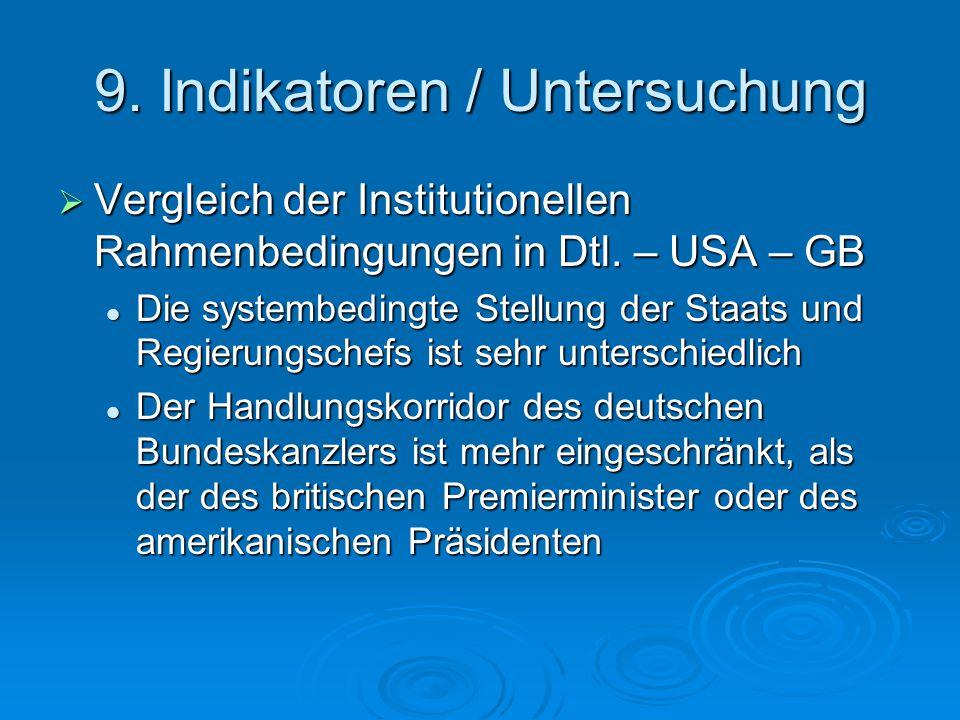 9. Indikatoren / Untersuchung  Vergleich der Institutionellen Rahmenbedingungen in Dtl.