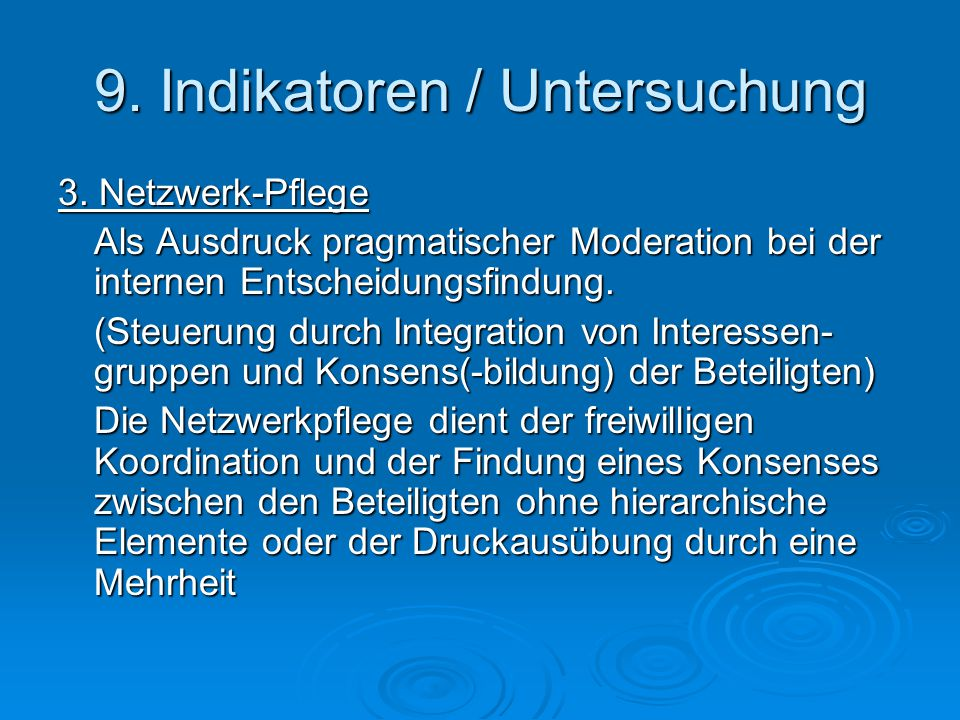 9. Indikatoren / Untersuchung 3.