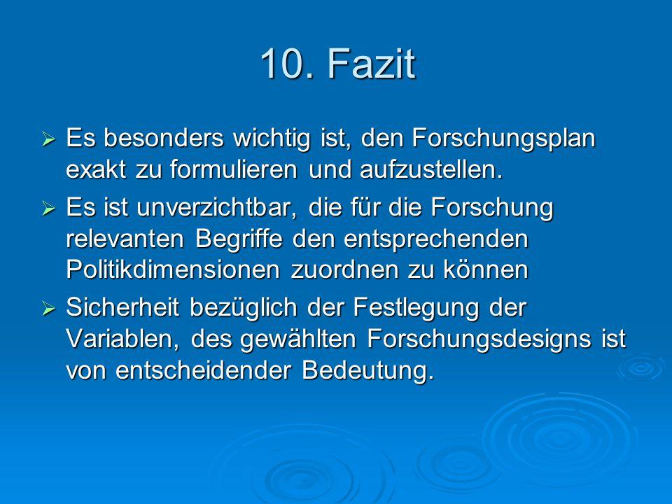 10. Fazit  Es besonders wichtig ist, den Forschungsplan exakt zu formulieren und aufzustellen.