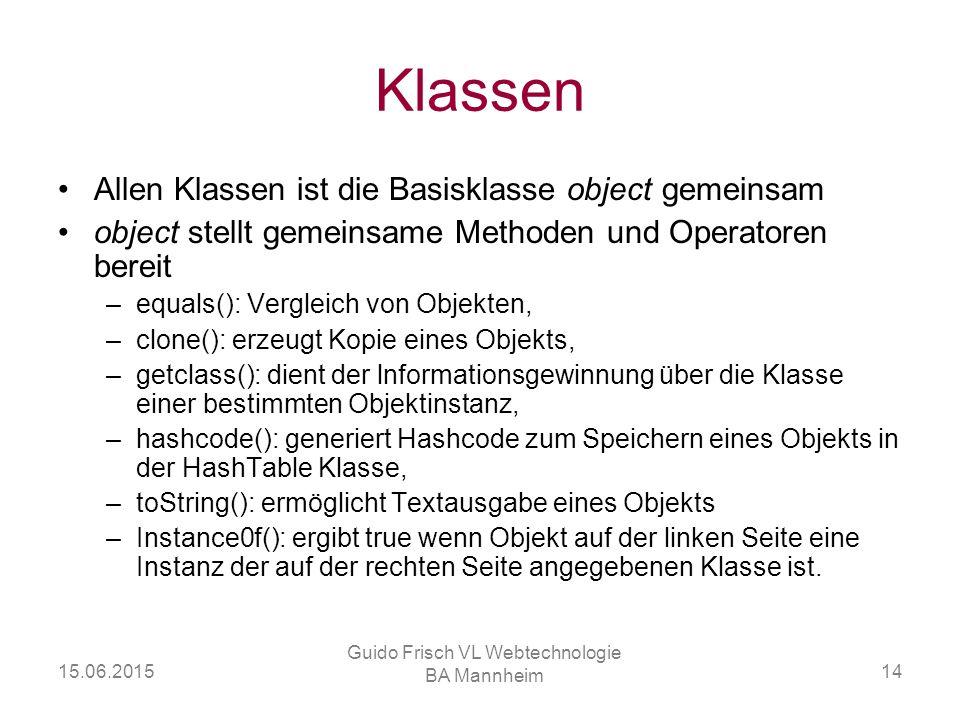15.06.2015 Guido Frisch VL Webtechnologie BA Mannheim 14 Klassen Allen Klassen ist die Basisklasse object gemeinsam object stellt gemeinsame Methoden