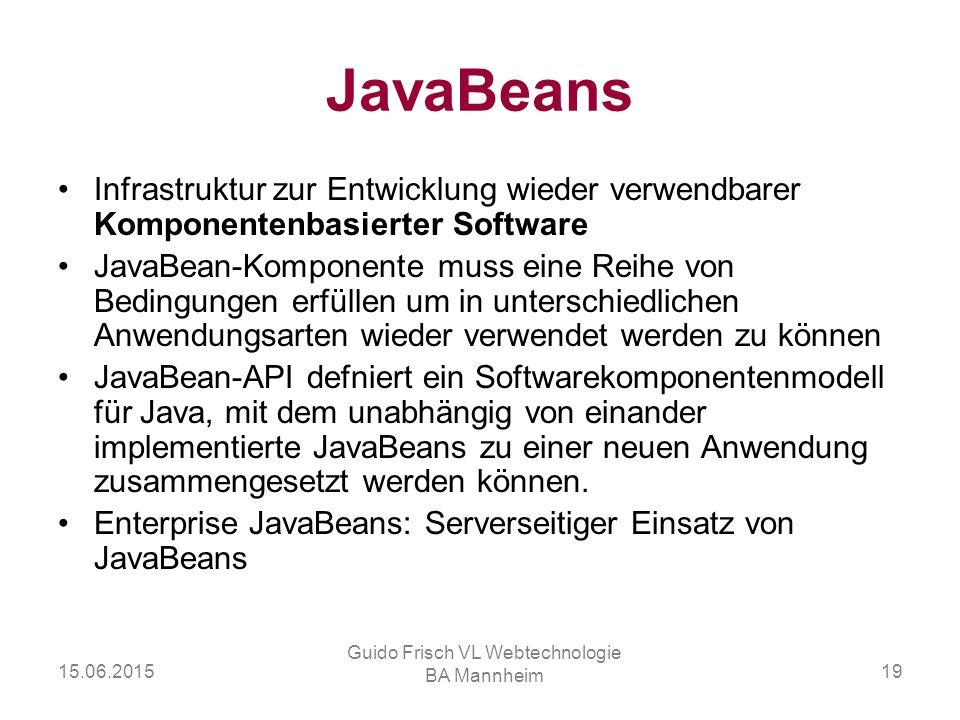 15.06.2015 Guido Frisch VL Webtechnologie BA Mannheim 19 JavaBeans Infrastruktur zur Entwicklung wieder verwendbarer Komponentenbasierter Software Jav