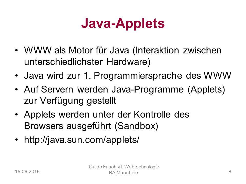 15.06.2015 Guido Frisch VL Webtechnologie BA Mannheim 8 Java-Applets WWW als Motor für Java (Interaktion zwischen unterschiedlichster Hardware) Java w