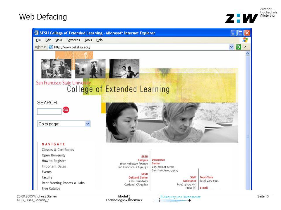 23.09.2003/Andreas Steffen NDS_CRM_Security_1 Seite 13 E-Security und Datenschutz Zürcher Hochschule Winterthur Modul 3 Technologie – Überblick Web Defacing