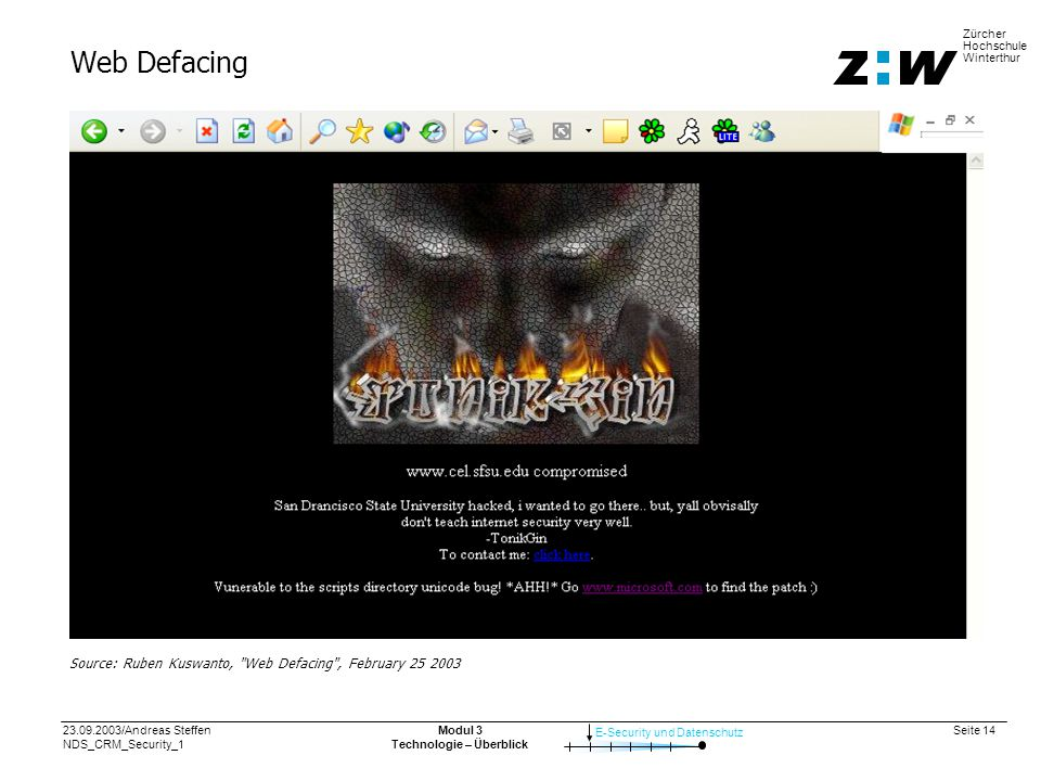 23.09.2003/Andreas Steffen NDS_CRM_Security_1 Seite 14 E-Security und Datenschutz Zürcher Hochschule Winterthur Modul 3 Technologie – Überblick Web Defacing Source: Ruben Kuswanto, Web Defacing , February 25 2003