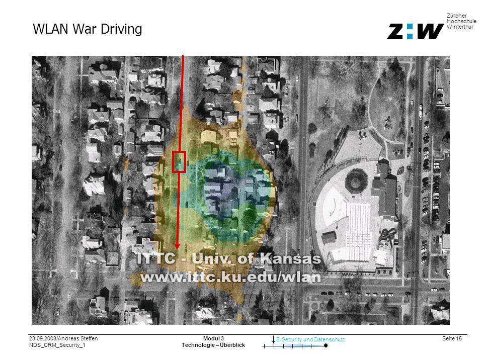 23.09.2003/Andreas Steffen NDS_CRM_Security_1 Seite 15 E-Security und Datenschutz Zürcher Hochschule Winterthur Modul 3 Technologie – Überblick WLAN War Driving