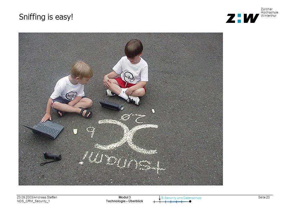 23.09.2003/Andreas Steffen NDS_CRM_Security_1 Seite 20 E-Security und Datenschutz Zürcher Hochschule Winterthur Modul 3 Technologie – Überblick Sniffing is easy!