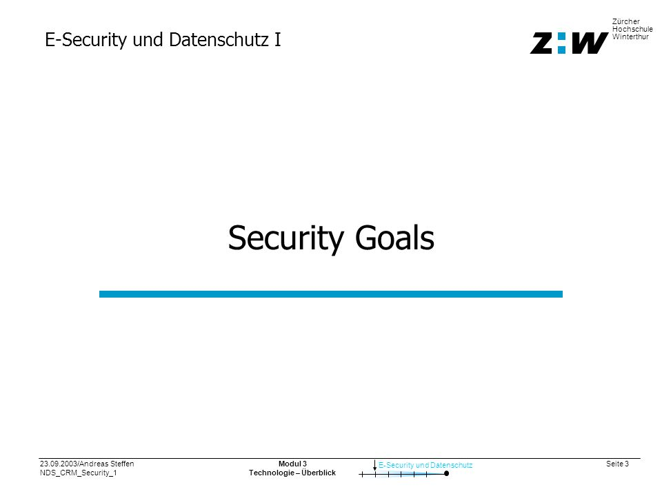 23.09.2003/Andreas Steffen NDS_CRM_Security_1 Seite 4 E-Security und Datenschutz Zürcher Hochschule Winterthur Modul 3 Technologie – Überblick Security Goals in e-Commerce: CIA + Privacy + Identity Confidentiality Sensitive company information and customer data must be protected from unauthorized access.
