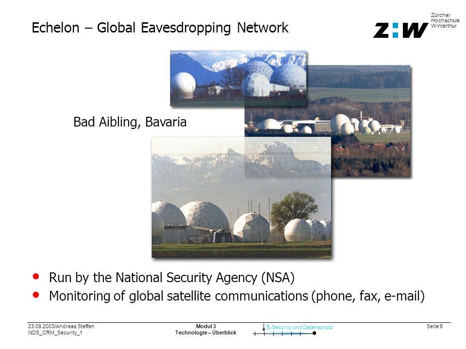 23.09.2003/Andreas Steffen NDS_CRM_Security_1 Seite 7 E-Security und Datenschutz Zürcher Hochschule Winterthur Modul 3 Technologie – Überblick
