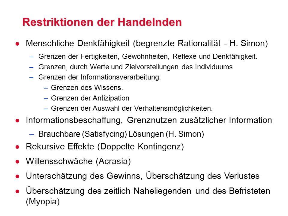 Restriktionen der Handelnden l Menschliche Denkfähigkeit (begrenzte Rationalität - H.