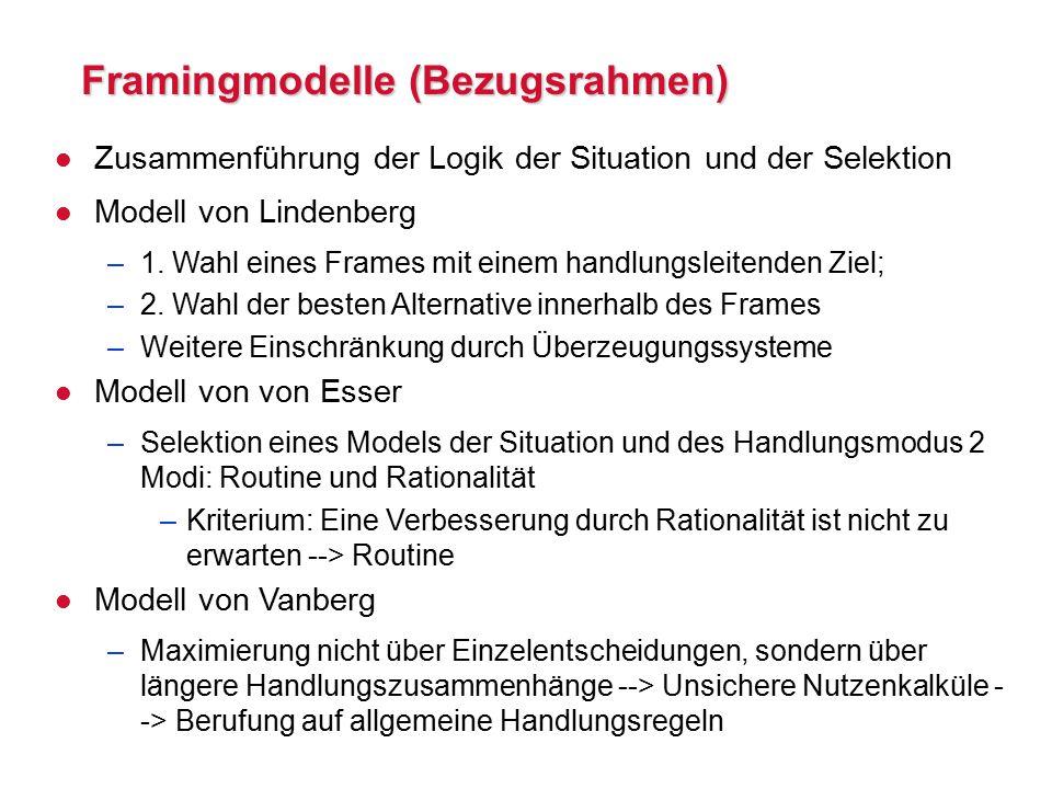 Framingmodelle (Bezugsrahmen) l Zusammenführung der Logik der Situation und der Selektion l Modell von Lindenberg –1.