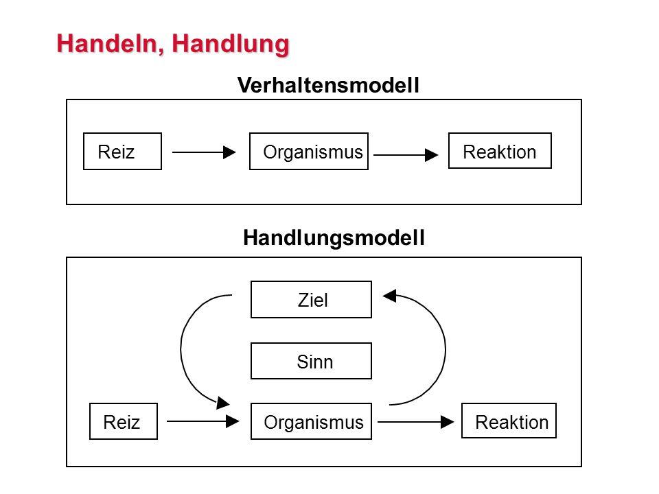 Handeln, Handlung ReizOrganismusReaktion Verhaltensmodell ReizOrganismusReaktion Sinn Ziel Handlungsmodell