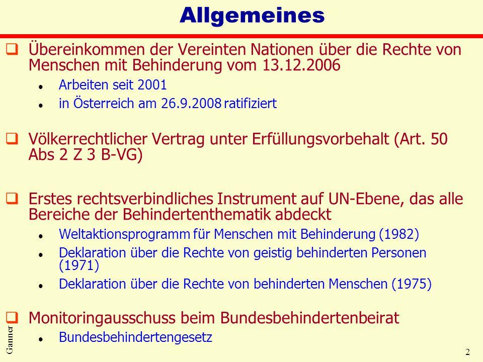 2 Ganner Allgemeines qÜbereinkommen der Vereinten Nationen über die Rechte von Menschen mit Behinderung vom 13.12.2006 l Arbeiten seit 2001 l in Öster