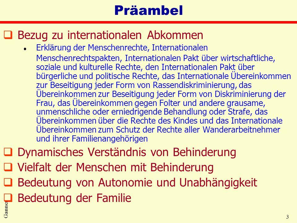 3 Ganner Präambel qBezug zu internationalen Abkommen l Erklärung der Menschenrechte, Internationalen Menschenrechtspakten, Internationalen Pakt über w