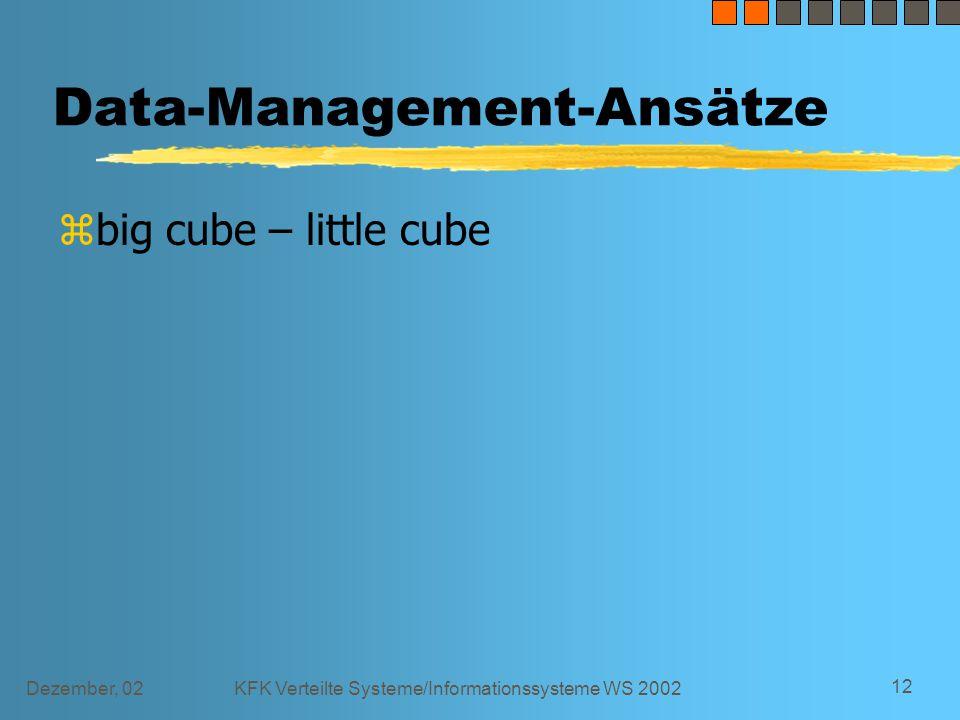 Dezember, 02KFK Verteilte Systeme/Informationssysteme WS 2002 12 Data-Management-Ansätze zbig cube – little cube
