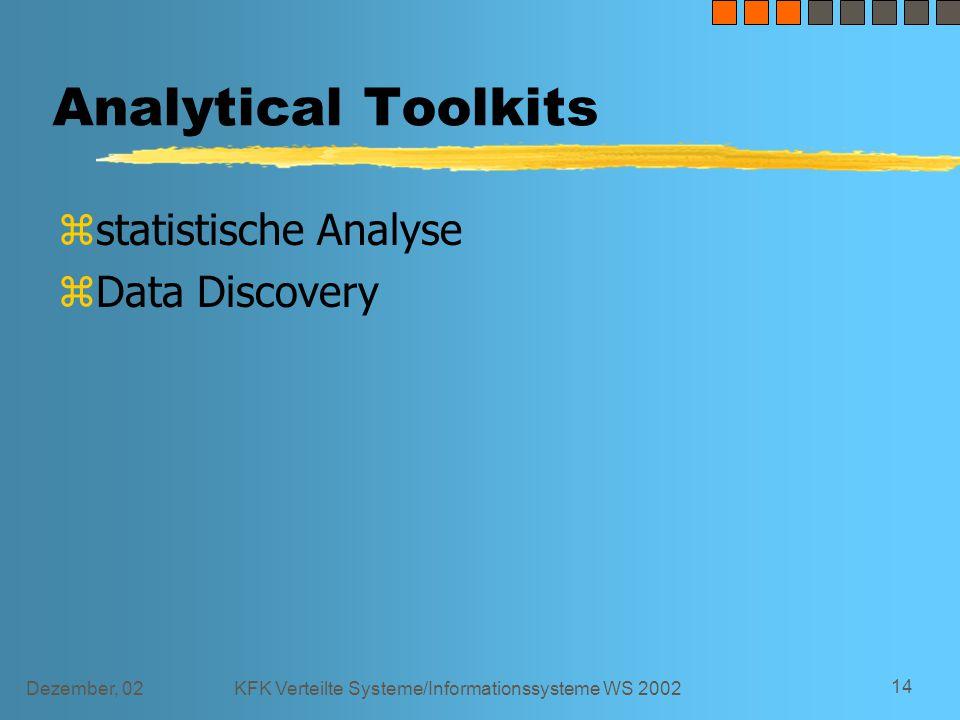 Dezember, 02KFK Verteilte Systeme/Informationssysteme WS 2002 14 Analytical Toolkits zstatistische Analyse zData Discovery