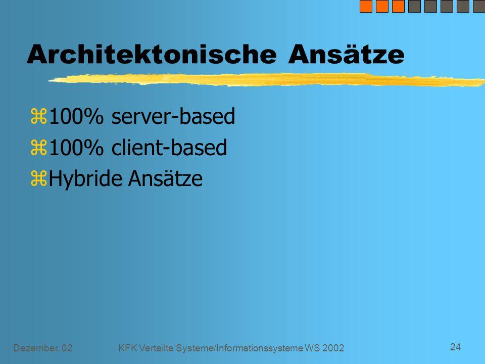 Dezember, 02KFK Verteilte Systeme/Informationssysteme WS 2002 24 Architektonische Ansätze z100% server-based z100% client-based zHybride Ansätze
