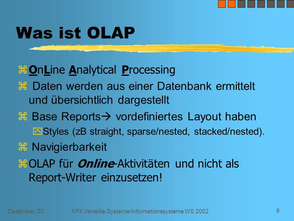 Dezember, 02KFK Verteilte Systeme/Informationssysteme WS 2002 10 Charakteristika einer erfolgreichen OLAP- Implementation Vvolatile content Aactionable Iimportant Nnavigatable Sstable format & dimensions