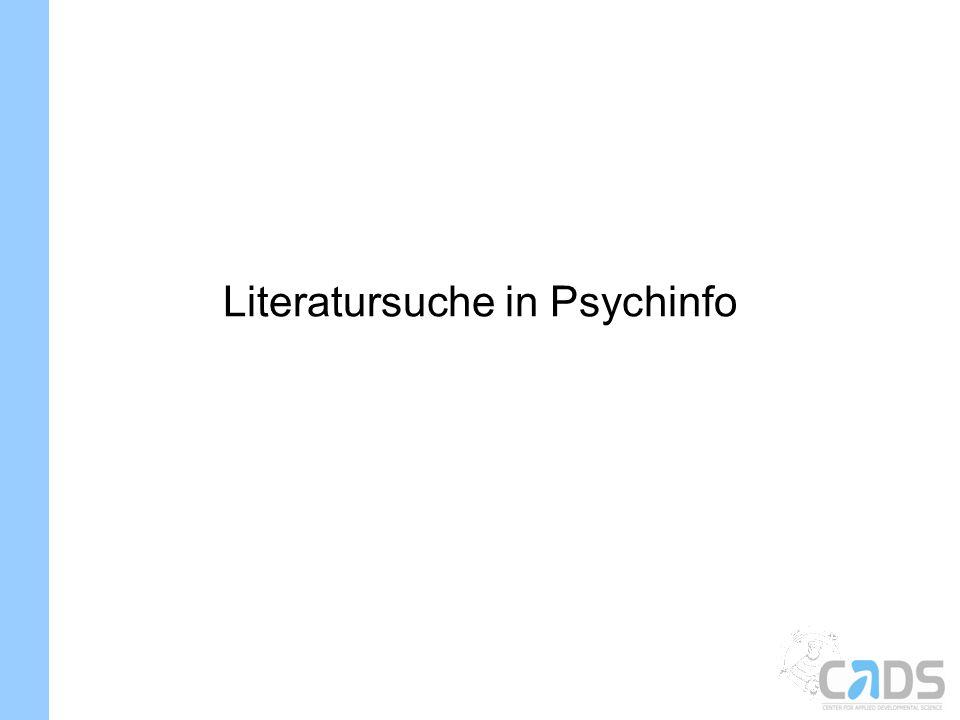 Literatursuche in Psychinfo