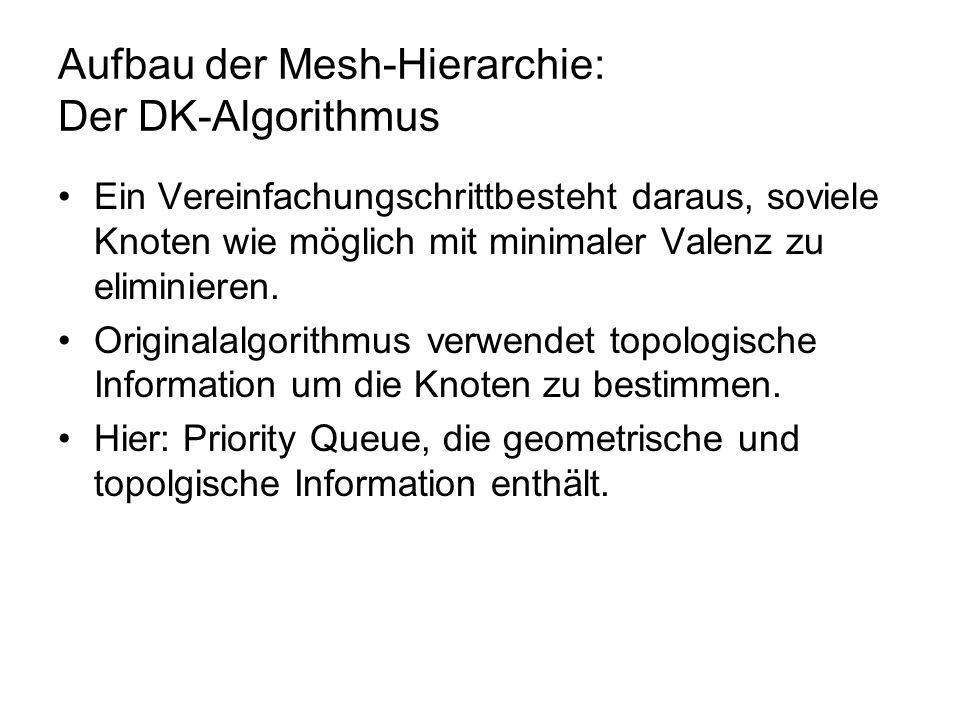 Aufbau der Mesh-Hierarchie: Der DK-Algorithmus Ein Vereinfachungschrittbesteht daraus, soviele Knoten wie möglich mit minimaler Valenz zu eliminieren.