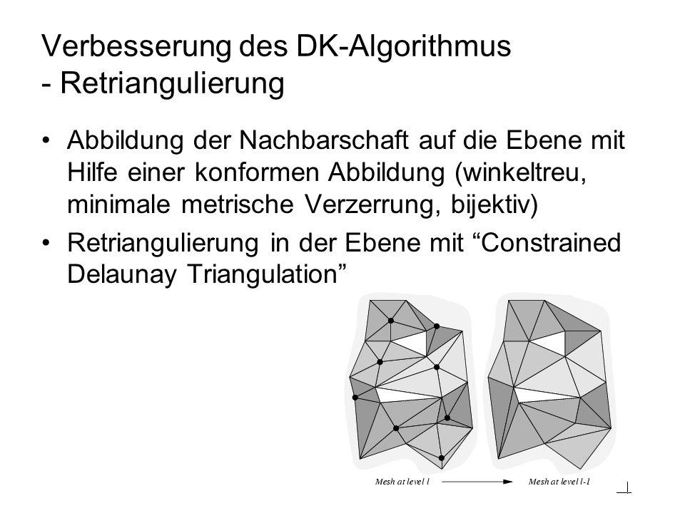 Verbesserung des DK-Algorithmus - Retriangulierung Abbildung der Nachbarschaft auf die Ebene mit Hilfe einer konformen Abbildung (winkeltreu, minimale metrische Verzerrung, bijektiv) Retriangulierung in der Ebene mit Constrained Delaunay Triangulation