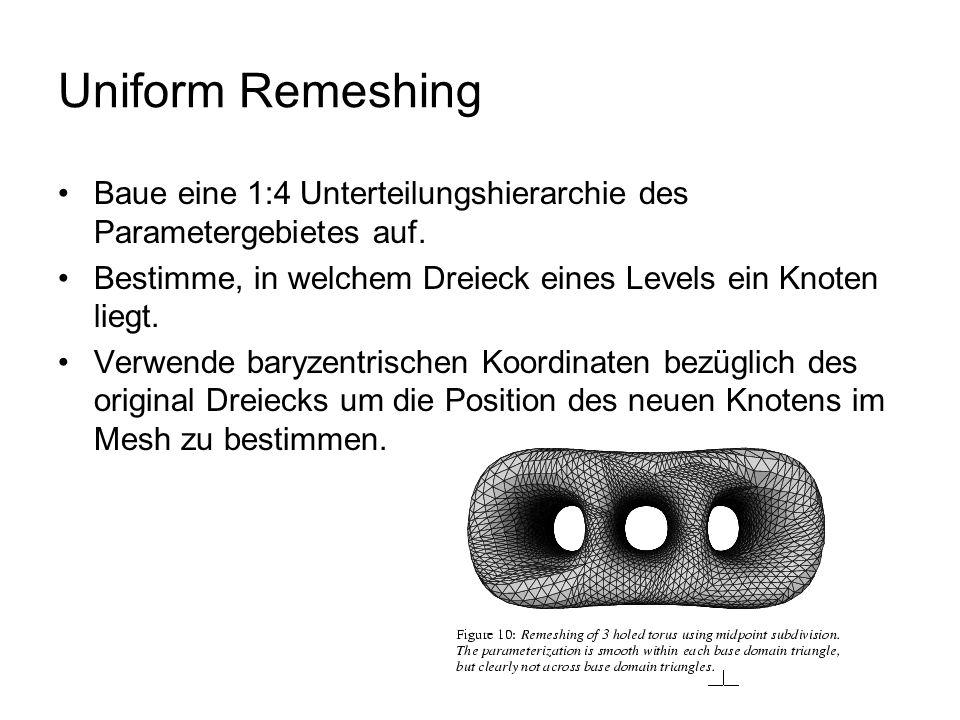Uniform Remeshing Baue eine 1:4 Unterteilungshierarchie des Parametergebietes auf.