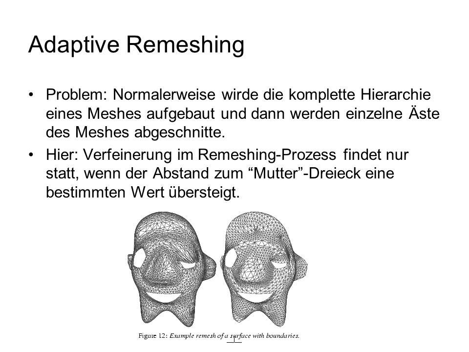 Adaptive Remeshing Problem: Normalerweise wirde die komplette Hierarchie eines Meshes aufgebaut und dann werden einzelne Äste des Meshes abgeschnitte.