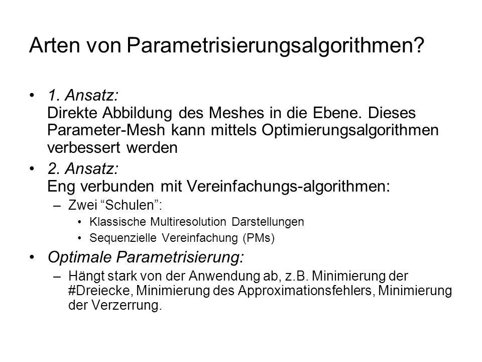 Arten von Parametrisierungsalgorithmen? 1. Ansatz: Direkte Abbildung des Meshes in die Ebene. Dieses Parameter-Mesh kann mittels Optimierungsalgorithm