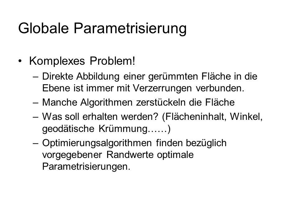 Globale Parametrisierung Komplexes Problem! –Direkte Abbildung einer gerümmten Fläche in die Ebene ist immer mit Verzerrungen verbunden. –Manche Algor