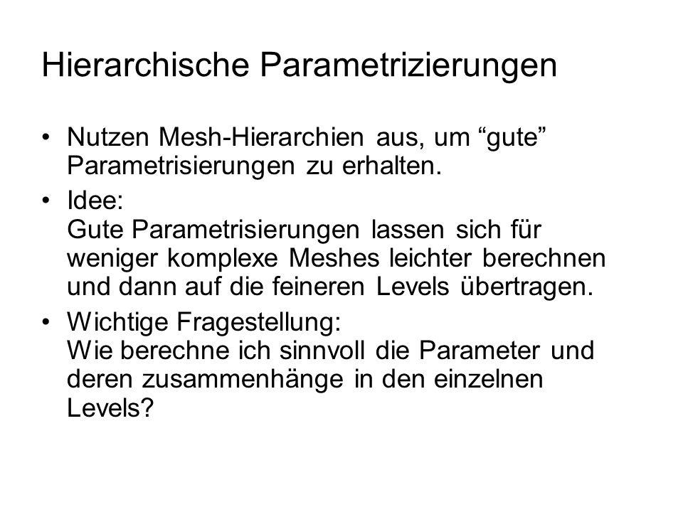 """Hierarchische Parametrizierungen Nutzen Mesh-Hierarchien aus, um """"gute"""" Parametrisierungen zu erhalten. Idee: Gute Parametrisierungen lassen sich für"""