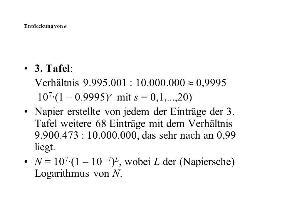 Entdeckung von e 3. Tafel: Verhältnis 9.995.001 : 10.000.000  0,9995 10 7 ·(1 – 0.9995) s mit s = 0,1,...,20) Napier erstellte von jedem der Einträge