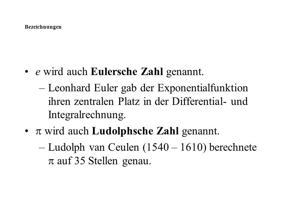Bezeichnungen e wird auch Eulersche Zahl genannt. –Leonhard Euler gab der Exponentialfunktion ihren zentralen Platz in der Differential- und Integralr