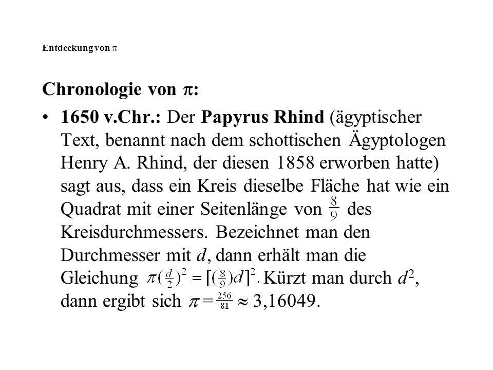 Entdeckung von  Chronologie von  : 1650 v.Chr.: Der Papyrus Rhind (ägyptischer Text, benannt nach dem schottischen Ägyptologen Henry A. Rhind, der d