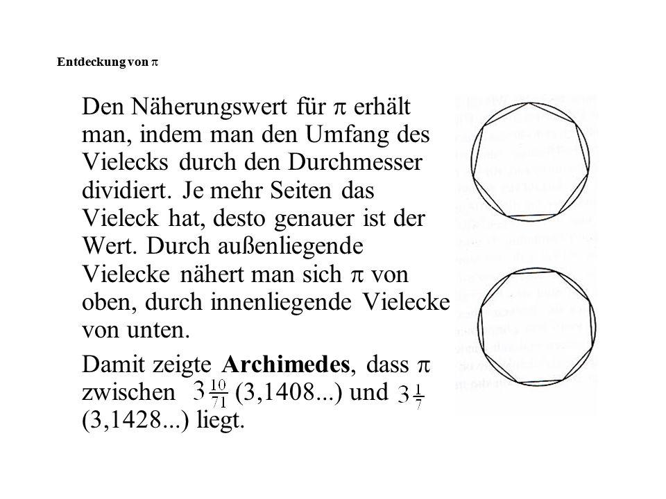 Den Näherungswert für  erhält man, indem man den Umfang des Vielecks durch den Durchmesser dividiert. Je mehr Seiten das Vieleck hat, desto genauer i