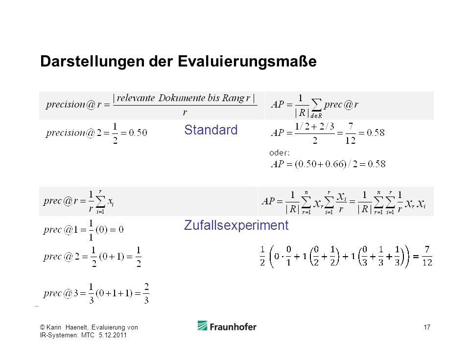 Darstellungen der Evaluierungsmaße 17© Karin Haenelt, Evaluierung von IR-Systemen: MTC 5.12.2011 Standard Zufallsexperiment