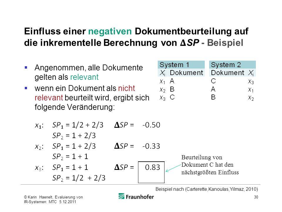 Einfluss einer negativen Dokumentbeurteilung auf die inkrementelle Berechnung von SP - Beispiel  Angenommen, alle Dokumente gelten als relevant  wen