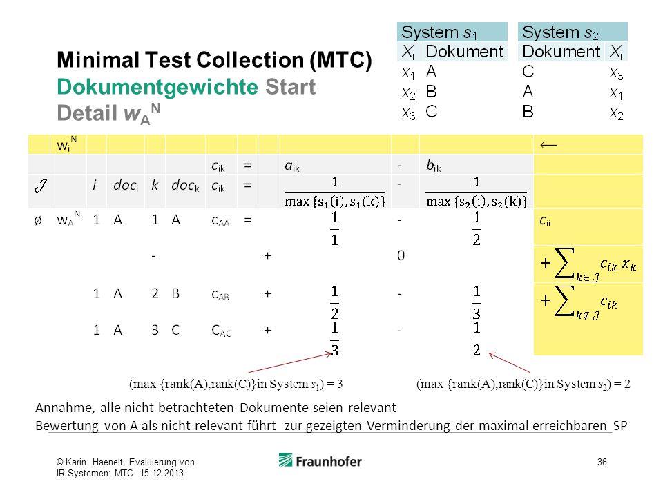 Minimal Test Collection (MTC) Dokumentgewichte Start Detail w A N 36© Karin Haenelt, Evaluierung von IR-Systemen: MTC 15.12.2013 (max {rank(A),rank(C)