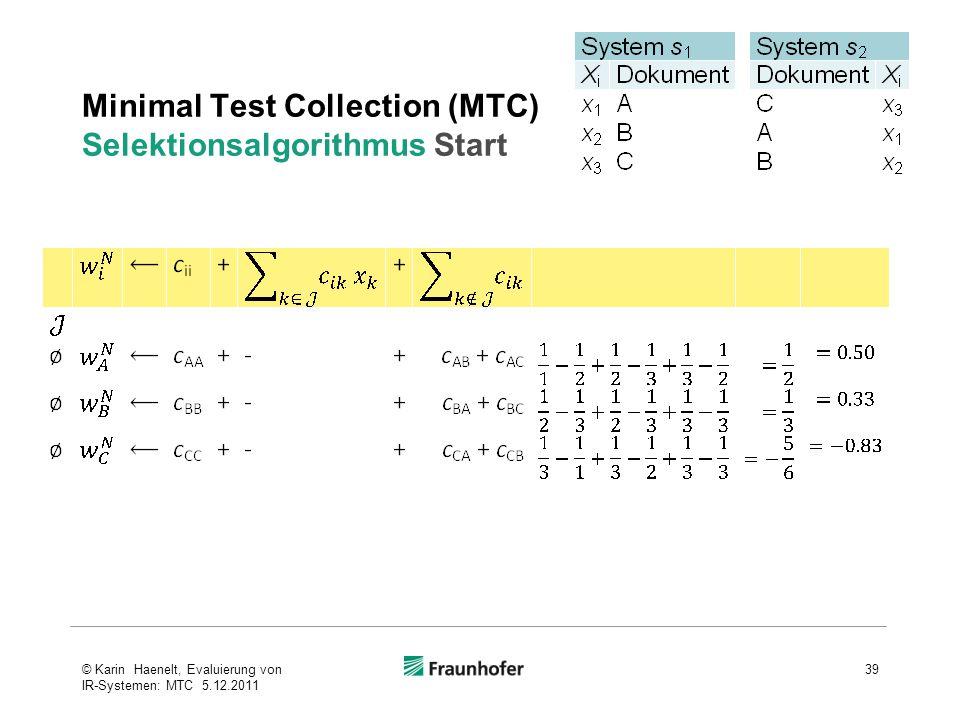 Minimal Test Collection (MTC) Selektionsalgorithmus Start 39© Karin Haenelt, Evaluierung von IR-Systemen: MTC 5.12.2011