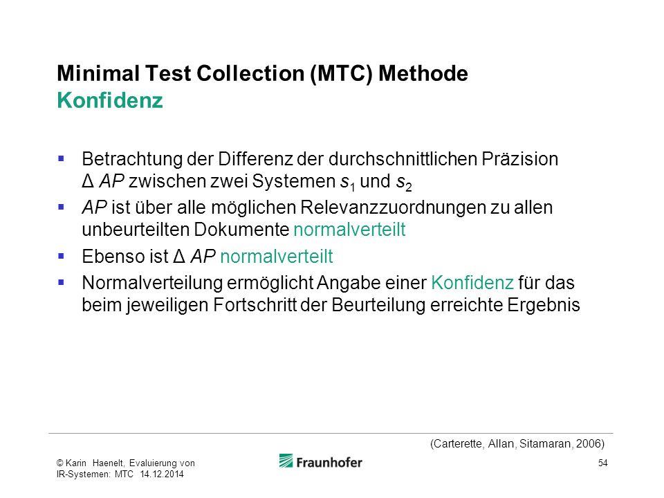 Minimal Test Collection (MTC) Methode Konfidenz  Betrachtung der Differenz der durchschnittlichen Präzision Δ AP zwischen zwei Systemen s 1 und s 2 