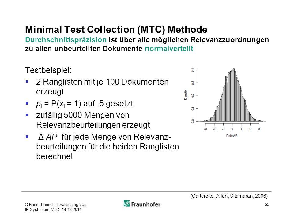 Minimal Test Collection (MTC) Methode Durchschnittspräzision ist über alle möglichen Relevanzzuordnungen zu allen unbeurteilten Dokumente normalvertei