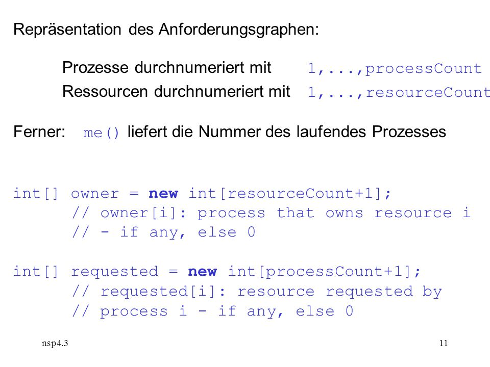 nsp4.311 Repräsentation des Anforderungsgraphen: Prozesse durchnumeriert mit 1,...,processCount Ressourcen durchnumeriert mit 1,...,resourceCount Ferner: me() liefert die Nummer des laufendes Prozesses int[] owner = new int[resourceCount+1]; // owner[i]: process that owns resource i // - if any, else 0 int[] requested = new int[processCount+1]; // requested[i]: resource requested by // process i - if any, else 0