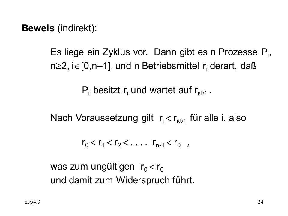 nsp4.324 Beweis (indirekt): Es liege ein Zyklus vor.